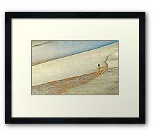 "Shore Surfing, skim surfing on the shallow waves on the beach at ""Avila Beach"" California Framed Print"