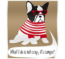 Hipster French bulldog Poster