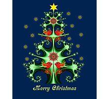 Decorative Fractal Christmas tree with snowflakes, birds & folk horses Photographic Print