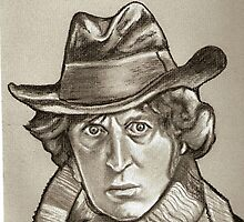 Dr. Who, Tom Baker drawing by RobCrandall