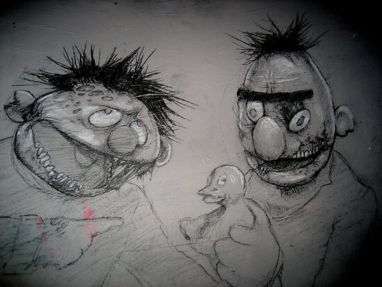 Bert and Ernie Zombies by KillerNapkins