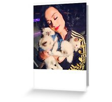 Katy With Her Kitty Kats Greeting Card