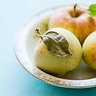 Tiny apples and leaf by Colleen Farrell