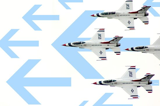 Thunderbirds at World Space Expo 2007 with graphic arrows. by Mark Weaver
