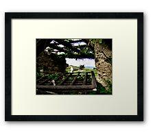 Beyond old window frame Framed Print