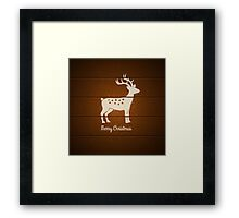 deer on wooden background Framed Print