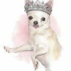 Chihuahua in a tiara watercolor by Mike Theuer