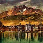 Railway Station and Pilatus by moonlight, Lucerne, Switzerland - all products bar duvet by Dennis Melling