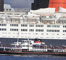 QE2 meets the Mersey Ferry by Paul Reay