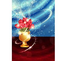 Tulips in vase on table Photographic Print