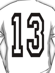 TEAM SPORTS, NUMBER 13, THIRTEEN, THIRTEENTH, ONE, THREE, Competition,  T-Shirt