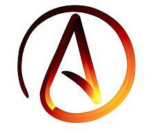 Red Hot Atheist Symbol by Michelle Albert
