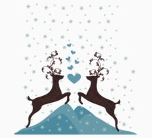 Love Deers in Snow Flakes for T shirts by nidesh