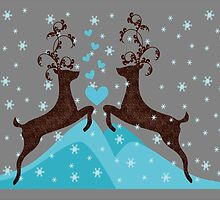 Love Deers in Snow Flakes for print cards and posters by nidesh