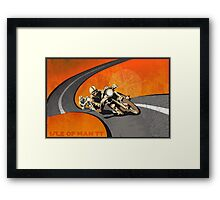 retro motorcycle Isle of Man TT poster Framed Print
