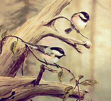 CHICKADEES on a BRANCH by sharonsharpe