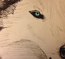 White Wolf with Blue Eyes by Curupia