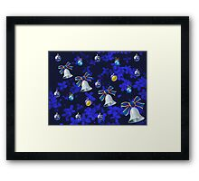 Four Bells Christmas Card in Blue Framed Print