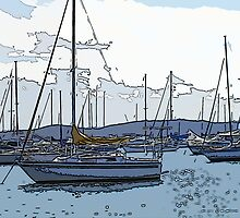 Valentine Moorings - Blue Grey Hues by reflector