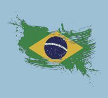 Brazil Flag Brush Splatter Kids Clothes