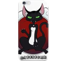 Cat with Attitude: Black & Red iPhone Case/Skin
