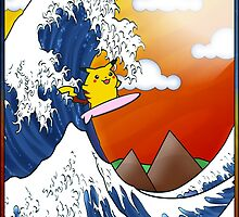 Surfing Pikachu (Poster Version) by zeephattony