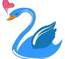 Single cartoon swan in love by berlinrob