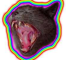scary cat with rainbow glow by thescaredpeople