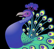 A splendid green and blue Peacock by jazzydevil