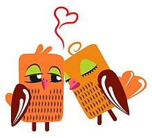 Two orange cartoon owls in love by berlinrob