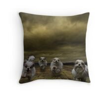 the four fluffy dogs of the Apocalypse Throw Pillow