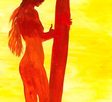 Hawaiian Surfing Girl By Yuriy B. by bihusyak