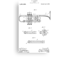 Trumpet patent from 1919 Canvas Print