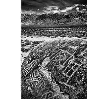 Paiute Petroglyphs and the White Mountains Photographic Print