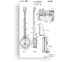 Long Neck Banjo patent from 1964 Canvas Print