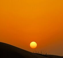 Sunset over dunes of the Dubai Desert Conservation Reserve, UAE by Shannon Benson