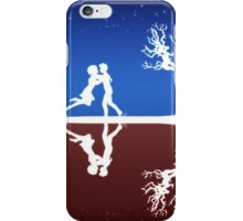 Abstract background with white silhouettes iPhone Case/Skin