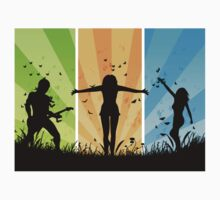 People silhouettes with grass and butterflies 3 Kids Clothes