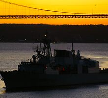 HMCS CHARLOTTETOWN at dusk by Sandy  McClearn