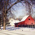 PRETTY RED BARN IN WINTER by Pauline Evans
