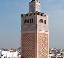 Minaret of the Mosqée El-Zitouna by Tom Gomez