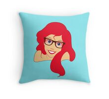 Hipster Ariel wearing glasses Throw Pillow