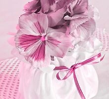Pink Pansies In Ribboned Pot by Sandra Foster