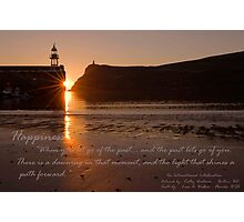 """Sunset over Port Erin Bay"" An International Collaboration: Artwork by: KathyWaldron - Bolton, UK and Quote by: Leon A. Walker - Florida, USA Photographic Print"