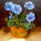 """Pansies in Terracotta"" by Susan Dehlinger"
