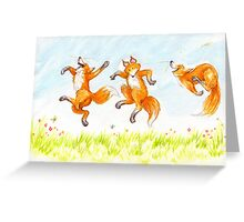 dancing foxes Greeting Card