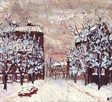 City in snow oil painting by Vitaliy Gonikman