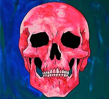 Painted Pink Skull on Blue & Green by Rachel  Weaver