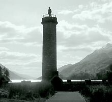 Monument and Mountains , Loch Shiel by Bill Lighterness