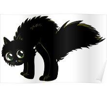 Cartoon black kitten Poster